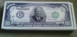 Eisenhower Dollars.  $10,  000 Bill 2004 Series (novelty 20pk) photo