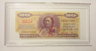 Series 692 Mpc $20 Dollars In Hard Plastic Case Vietnam War Note Military Cert photo