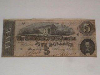 Hand Signed Civil War Confederate $5 Bill Us Paper Money Feb 17 1864 photo