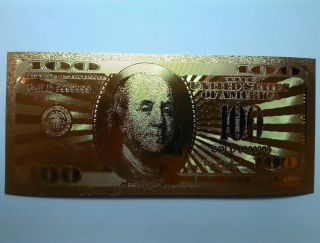$100 Usd Gold Foil Bill 24kt Gold 9999999 Special Edition photo
