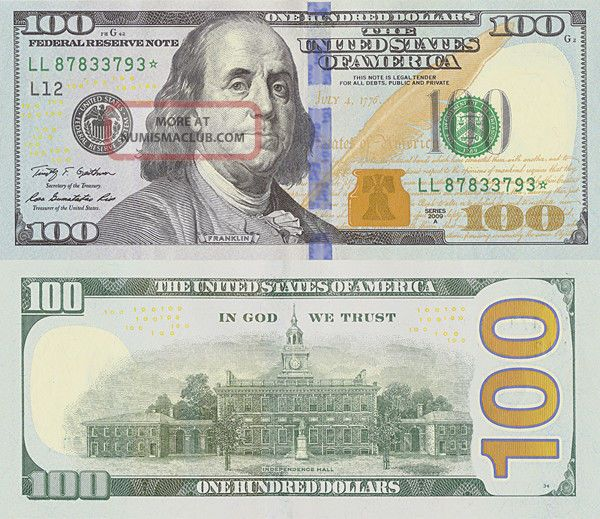 2013 2009a $100 One Hundred Dollars Star Note Larger Size Copy Replica Paper Money: US photo
