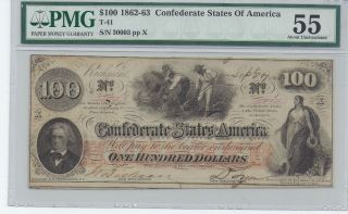 Confederate T - 41 $100 Note Graded About Uncirculated 55 By Pmg photo