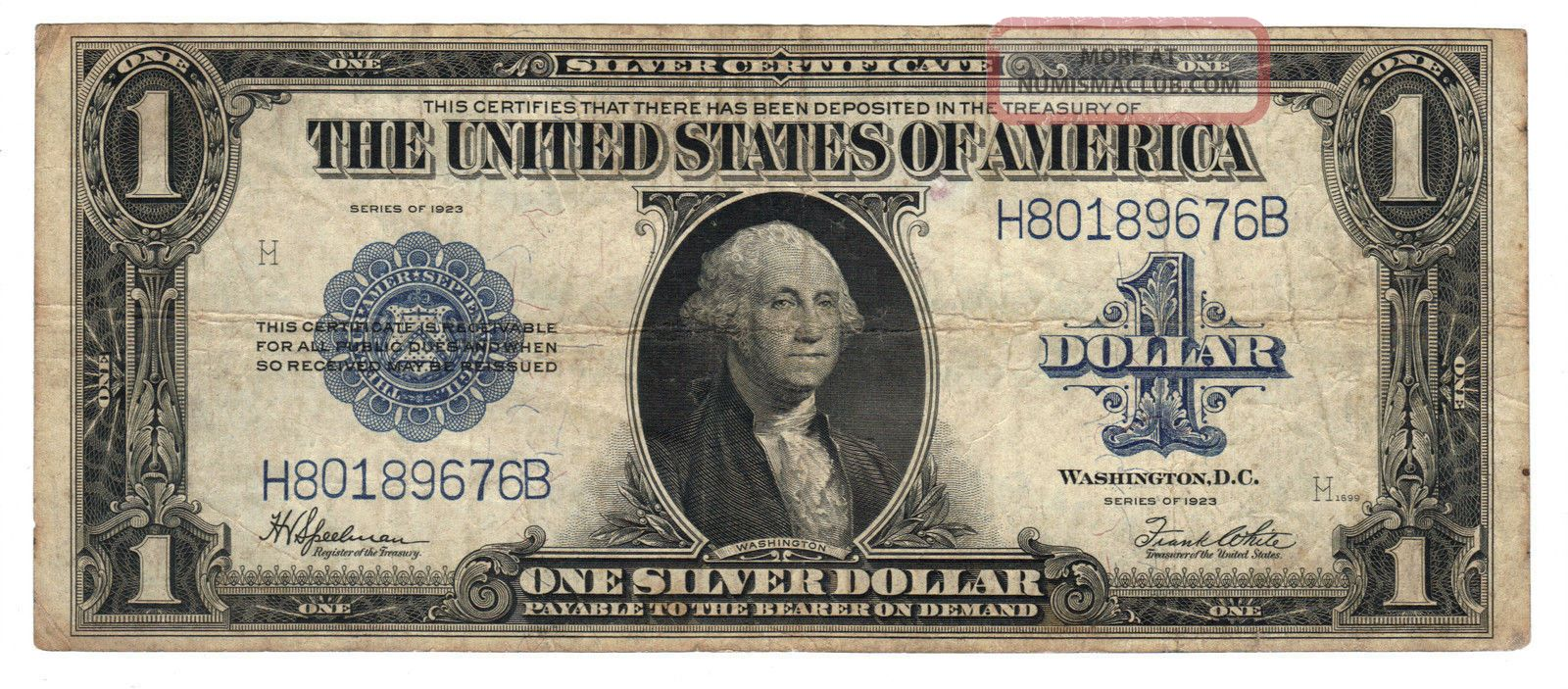 1 1923 Large Usa One Dollar Silver Certificate Old Paper Money Bill