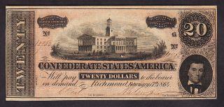 Us Csa 1864 $20 Confederate States Note T - 67 Ch Cu (- 965) photo