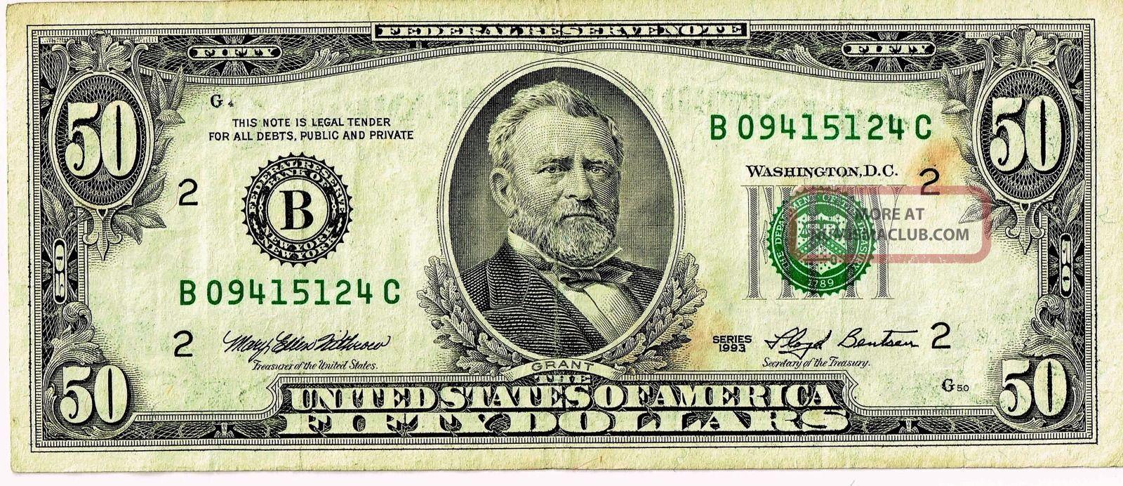 $50 Dollar Bill, 1993 Series, Frn, Federal Reserve Note