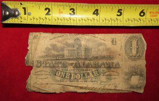 1863 Confederate State Of Alabama One Dollar Treasury Note 74 photo