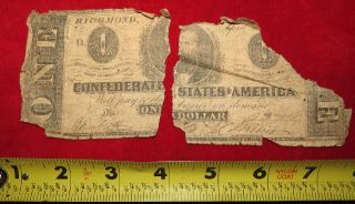 1863 Confederate State Of Richmond One Dollar Treasury Note 3394 photo