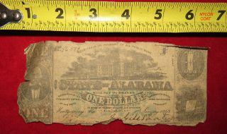 1863 Confederate State Of Alabama One Dollar Treasury Note 54537 photo