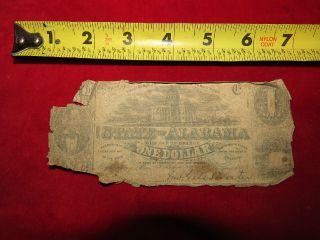 1863 Confederate State Of Alabama One Dollar Treasury Note 61811 photo