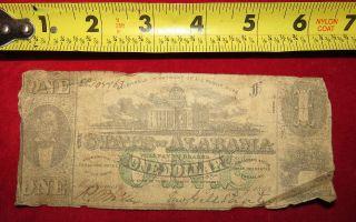 1863 Confederate State Of Alabama One Dollar Treasury Note 105463 photo