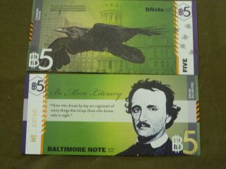 Bn5 Bnote Baltimore Local Regional Us Currency Low Sn 400 Poe Raven Md photo