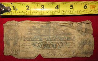 1863 Confederate State Of Alabama One Dollar Treasury Note photo