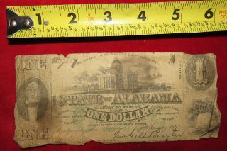 1863 Confederate State Of Alabama One Dollar Treasury Note 77289 photo