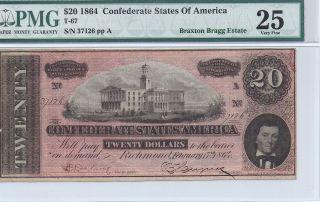 1864 Confederate $20 Note,  Braxton Bragg Estate Pmg Extremely Fine 25 37126 photo