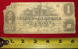 1863 Confederate State Of Alabama One Dollar Treasury Note 36539 photo