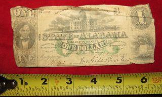 1863 Confederate State Of Alabama One Dollar Treasury Note 3339 photo