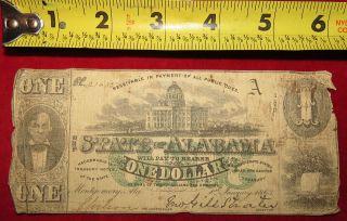 1863 Confederate State Of Alabama One Dollar Treasury Note 21635 photo