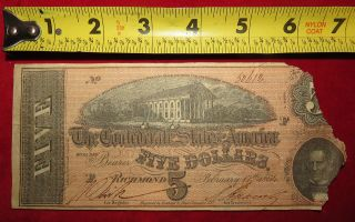 1864 Confederate State Of Richmond Five Dollar $5 Treasury Note 50612 photo