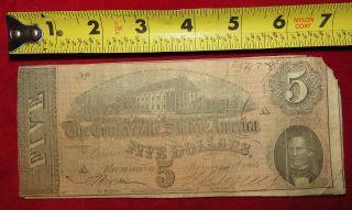 1864 Confederate State Of Richmond Five Dollar $5 Treasury Note 85437 photo