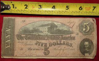 1864 Confederate State Of Richmond Five Dollar $5 Treasury Note 4929 photo
