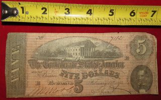 1864 Confederate State Of Richmond Five Dollar $5 Treasury Note 7112 photo