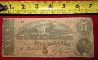 1864 Confederate State Of Richmond Five Dollar $5 Treasury Note 48710 photo