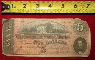 1864 Confederate State Of Richmond Five Dollar $5 Treasury Note 80492 photo