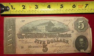 1864 Confederate State Of Richmond Five Dollar $5 Treasury Note 23547 photo