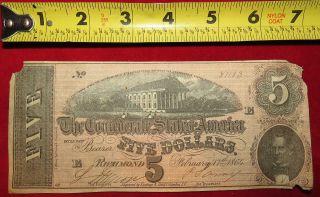 1864 Confederate State Of Richmond Five Dollar $5 Treasury Note 81103 photo