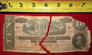 1863 Confederate State Of Richmond Ten Dollar $10 Treasury Note 66288 photo
