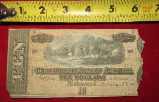 1863 Confederate State Of Richmond Ten Dollar $10 Treasury Note 112857 photo