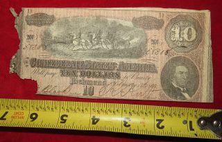 1864 Confederate State Of Richmond Ten Dollar $10 Treasury Note 58308 photo
