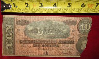 1864 Confederate State Of Richmond Ten Dollar $10 Treasury Note 31016 photo