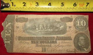 1864 Confederate State Of Richmond Ten Dollar $10 Treasury Note 14692 photo