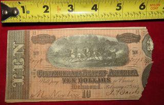 1864 Confederate State Of Richmond Ten Dollar $10 Treasury Note 20798 photo