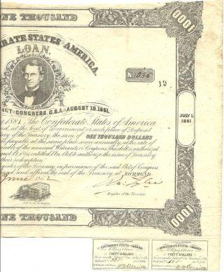 1861 Civil War,  $1000 Confederate Bond W/2 - $40 Coupons,  Rarity - 5 Cr 102 photo