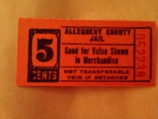 Usa Prison Bank Note Scrip Allegheny County 5 Cents Nd photo