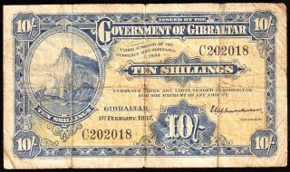 Gibraltar 10 Shillings Note 1937 P - 14a Fine photo