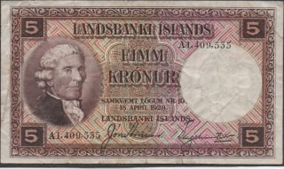 Iceland,  5 Kronur,  L.  15.  4.  1928 / 1940 ' S,  P 27b,  Prefix A,  Sign.  4,  Rare photo