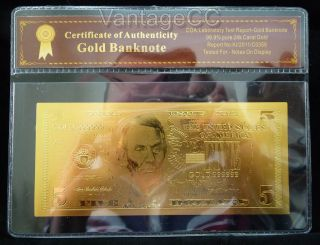 24k Gold $5 Dollar Note With Certificate Of Authenticity Nr Gorgeous photo