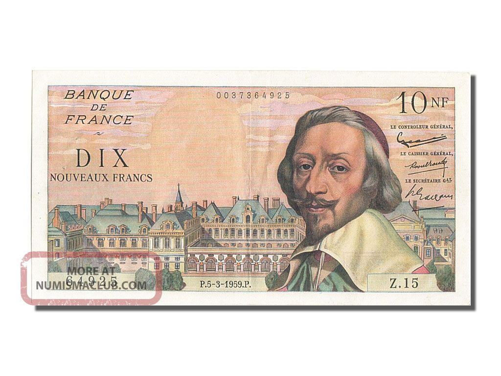 French Paper Money,  10 Nouveaux Francs Type Richelieu,  05 Mars 1959,  Fayette. . . Europe photo