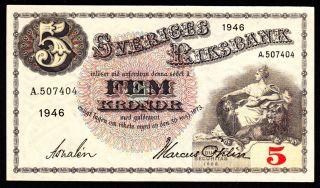 Sweden 5 Kronor 1946 Pick 33ac Xf. photo