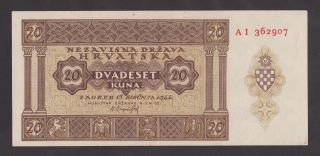 Croatia 20 Kuna 1944 Unc P9a World War Ii - Ustasa - Ndh Very Rare Banknote photo