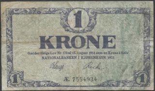 Denmark,  1 Krone,  1921,  P 12,  Prefix Ae photo