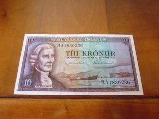 Iceland Banknote 10 Kronur L.  1961,