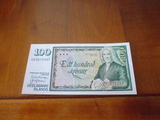 Iceland Banknote 100 Kronur L.  1986,  Unc