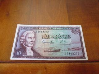 Iceland Banknote 10 Kronur L.  1957,