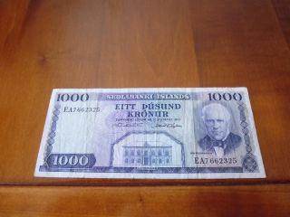 Iceland Banknote 1000 Kronur L.  1961,