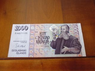 Iceland Banknote 1000 Kronur L.  2001,  Unc