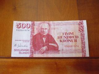 Iceland Banknote 500 Kronur L.  2001,
